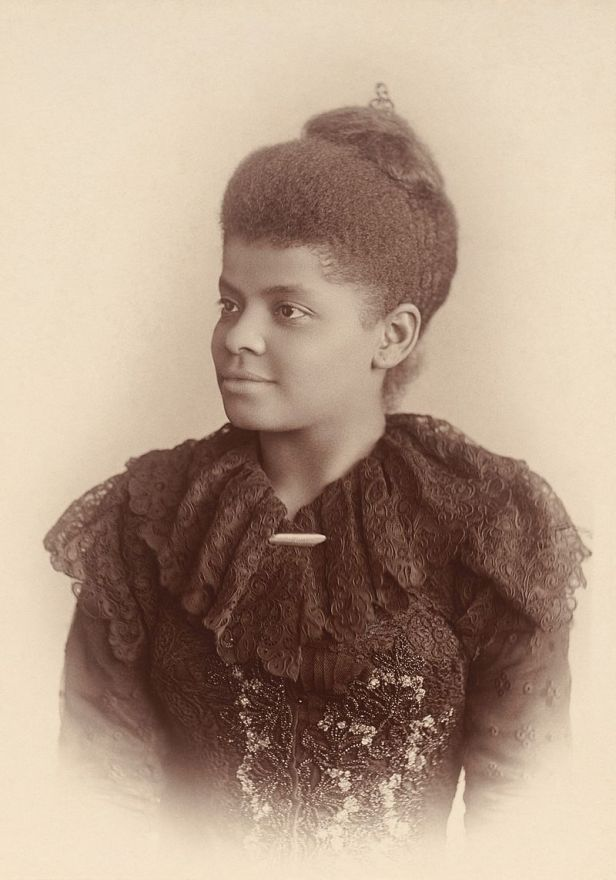 "Ida B. Wells Barnett (c. 1893) (1862–1931), ""an African-American journalist and civil and women's rights activist. She was one of the early leaders of the African-American Civil Rights Movement."" (Wikimedia)"