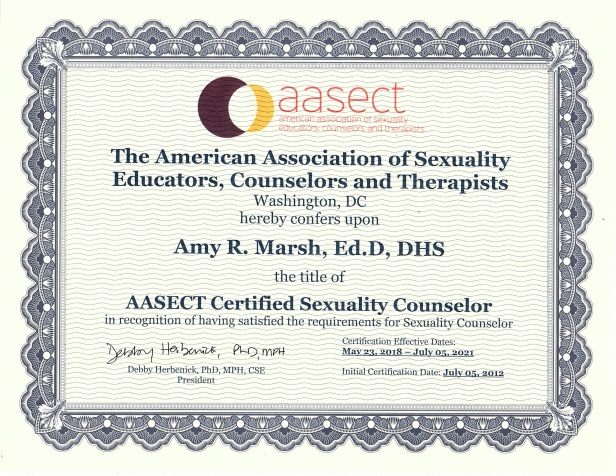 Professional certificate from AASECT granted to Amy R. Marsh. Intricate border, organization logo and text.